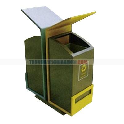 Thùng rác công cộng 2 ngăn, màu nâu vàng