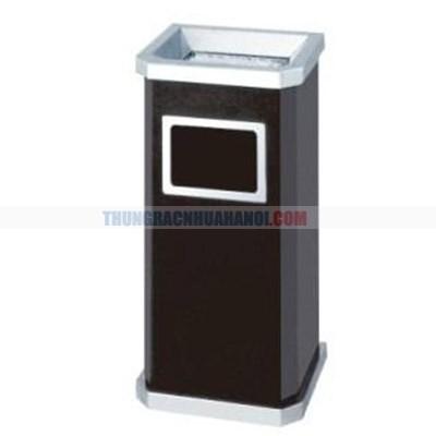 Thùng rác kim loại hình chữ nhật có gạt tàn thuốc