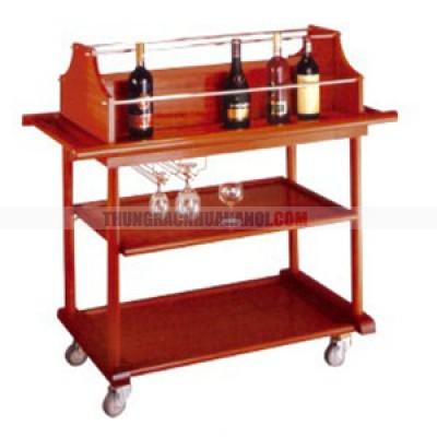 Xe phục vụ rượu 3 tầng bằng gỗ màu đỏ đun