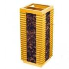 Thùng rác gỗ có khay gạt tàn màu vàng đen