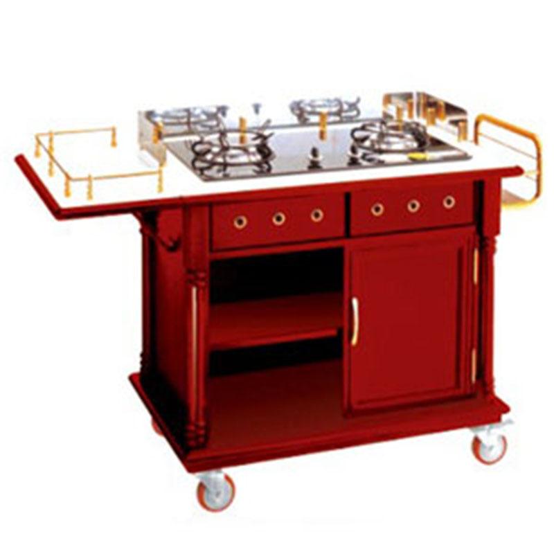 Xe phục vụ bếp có bếp ga nấu ăn tại bàn