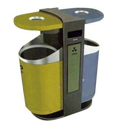 thùng rác công cộng đôi màu xanh vàng
